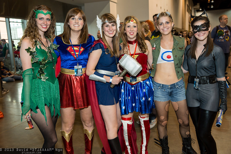 Enchantress, Supergirl, Thor, Wonder Woman, Tank Girl, and Catwoman
