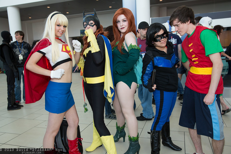 Supergirl, Batgirl, Poison Ivy, Nightwing, and Robin