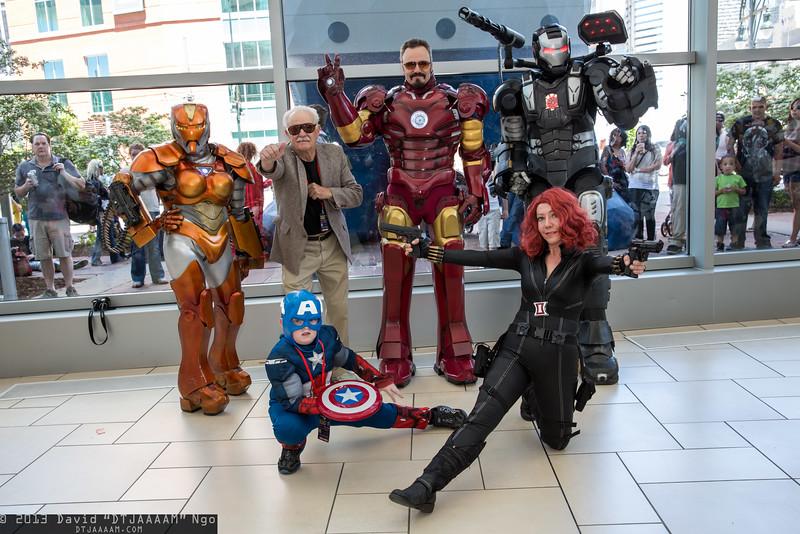 Rescue, Stan Lee, Iron Man, War Machine, Captain America, and Black Widow