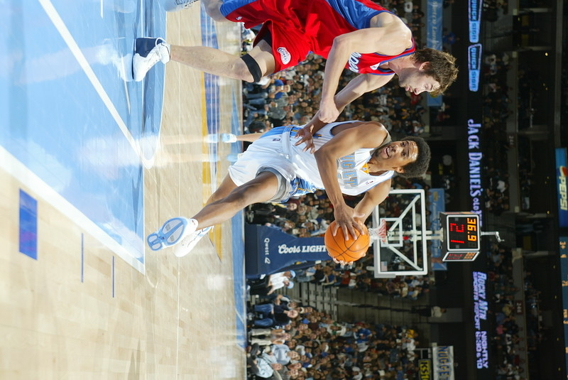 November 7, 2003: Carmelo Anthony of the Denver Nuggets during the 104-102 overtime loss to the Los Angeles Clippers at the Pepsi Center in Denver, CO.<br /> Mandatory Credit/ Icon SMI