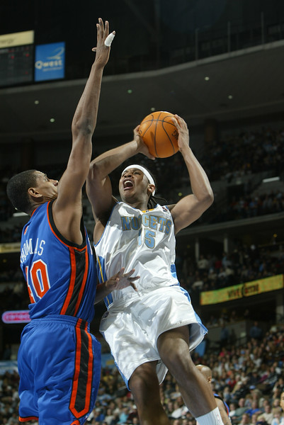 February 29, 2004: Carmelo Anthony of the Denver Nuggets during the 107-96 victory over  the New York Knicks at the Pepsi Center in Denver, Colorado. Mandatory Credit/ Icon SMI
