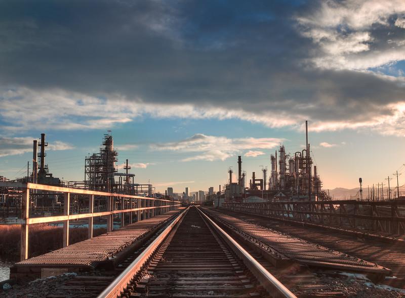 Suncor Refinery and railroad tracks, Denver, CO