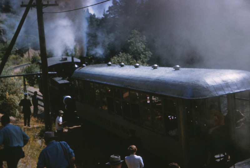 Manitou & Pikes Peak 7 - Sep 7 1958 - Eng 4 & coach 104 at Minnehaha Falls COLO