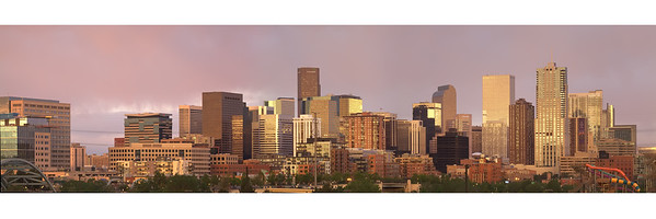 """Denver Skyline - Spring 2012 : 10x30 or 12x36 format - Print will include white borders as shown Stitched from 5 20mp shots this image has a large format look at the suggested sizes. The """"X3Large"""" view is only about 1/4 size,  Small details will show on the final print.(You can easily read """"Century Link"""" on the print) 