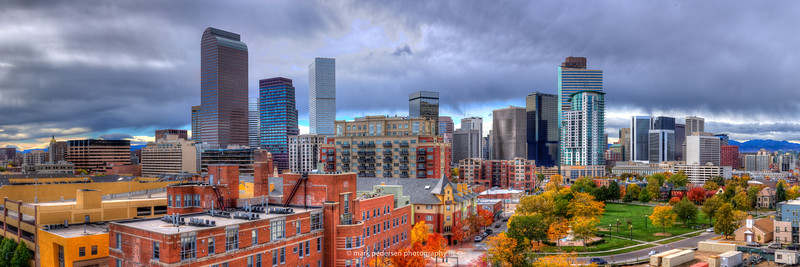 "The DENVER FALL PANORAMA |  This iconic view is now available as a 10x30"" or 12x36"" Panorama with out cropping. The details on these photographic prints are amazing, reproduced at about 1/2 their native image size, these prints have VERY high resolution. Be sure and check out the X3 Large view on this one! Digital rights are available for your website as well, Check it out! -special inquiries contact me direct 