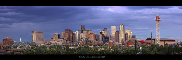 Denver Colorado Panorama | Looking East from Speer & I-25 | All the iconic elements are well defined | Stitched from 7-20MP images for large-format like details | This image is sized for a 12x36 (or 10x30) print with black borders top and bottom | Watermarks will not show on your ordered custom print | Special use licenses available please inquire < mark@coloradophotographic.com >