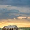 old abandoned farmhouse on a prairie, St Vrain State Park near Longmont, Colorado