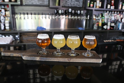 Belltown Brewery, Seattle. Speakeasy IPA, Summer Haze Hefeweizen, Das Brut! Brut IPA and Bell Ringer IPA all brewed on site
