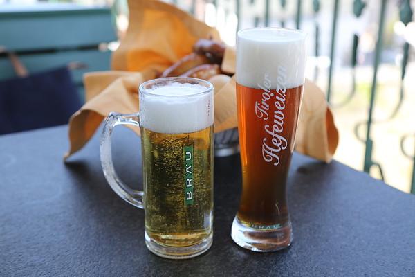 Huber Bräu St Johann in Tirol Spezial 5.3% and Tiroler Hefeweizen dark 5.4% at the brewery rooftop tap