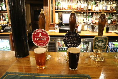 Eastgate Amber Ale 4.2% and Mobberley Concept 37 Peanut Stout 4.6%