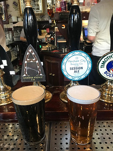 Alechemy Coffee Stout 5% and Merchant City Session Ale 3.9% at the Guildford Arms