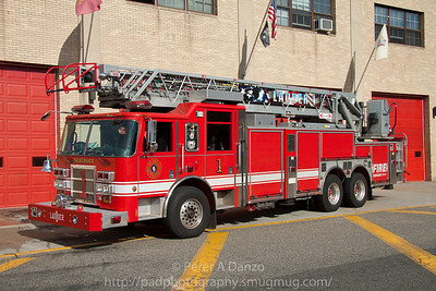 Hackensack NJ Ladder Co.1, 2003 Pierce 105' rear mount aerial.