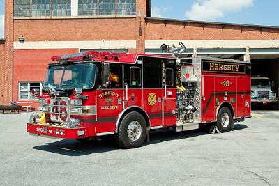 Hershey PA, Engine 48, 2011 Pierce Arrow XT pumper, 2000gpm / 750gwt as well as both class A and class B foam.