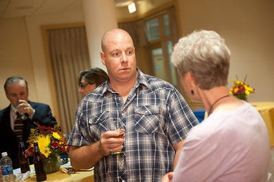 Coorporate donors meet with Westfield State University faculty members at a Donor Reception in the Scanlon Living Room