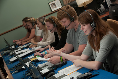 Westfield State University Students work the Phone-a-thon to raise money