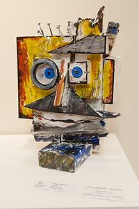 "Adam Mulcahy's sculpture ""Selfie"", winner of the President's Award at the 2016 Student Art Show."
