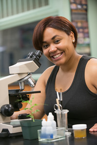 Westfield State University students under the microscope in Wilson Hall