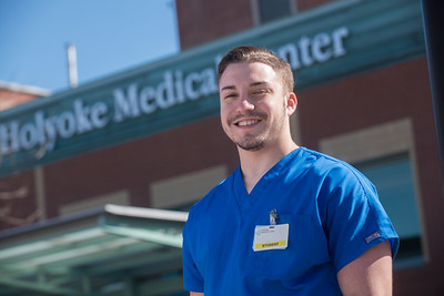Westfield State University student Jose Reyes at his internship with Holyoke Medical Center in Holyoke MA