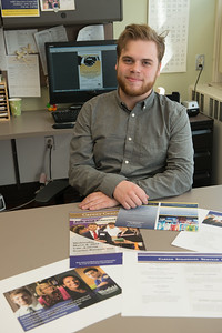 Westfield State University student Jacob Heroux at his internship with the Career Services Center at Westfield State