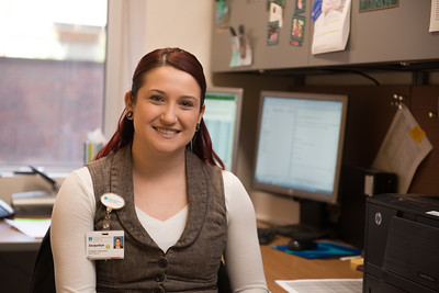 Westfield State University student Jacquelyn Schlien at her internship with the Mass General Cancer Center at Cooley Dickenson Hospital in Northampton, MA