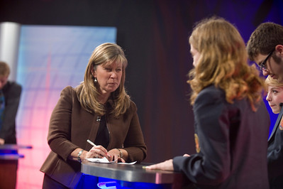 On set at a taping of As Schools Match Wits at Westfield State University, November, 2012