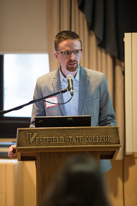 Westfield State University Alumni, David Cisek, takes part in a forum on campus, March 2017