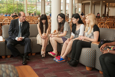 Westfield State University international students meet with school president Evan Dobelle at the beginning of the Fall 2013 semester.