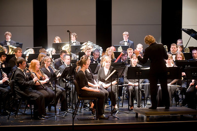 The Westfield State University Wind Symphony performs on Dever Stage.