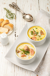 Creamy Fish Soup With Salmon, Potatoes, Onions And Carrots. Kalakeitto. Traditional Dish Of The Finn
