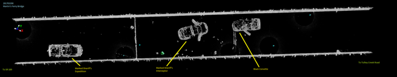 A 3-D scan of the scene was created by the sheriff's office. The Corvette is at the far right. All three vehicles were on the bridge. (Humboldt County Sheriff's Office - Contributed)