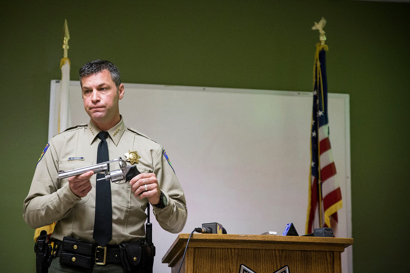 George Robbins said he was given the gun by a friend, according to Hondal. Robbins told deputies he did not fire at them Friday night. Two spent cartridges were found in the chamber. (Sam Armanino - The Times-Standard)
