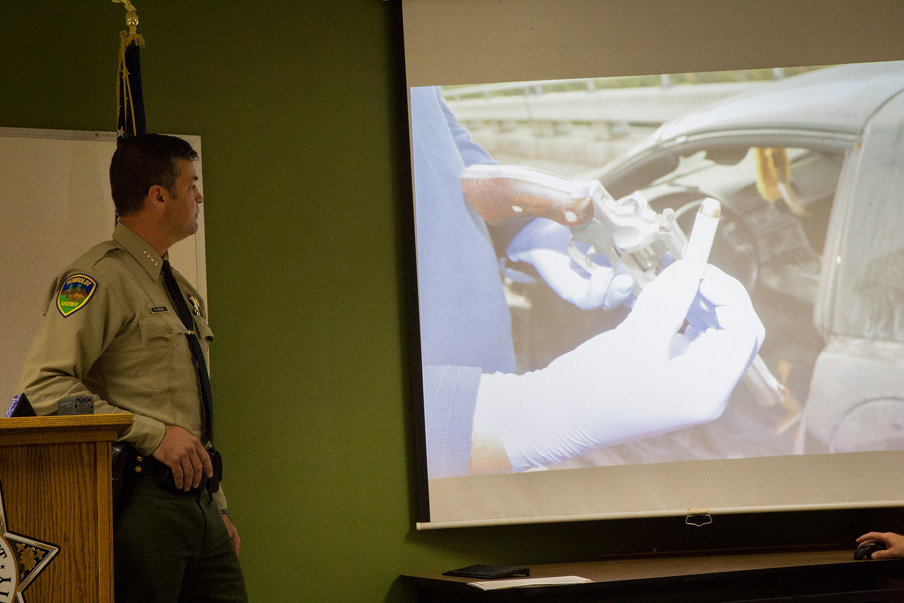 Honsal displayed some of the evidence photos at Tuesday morning's press conference. (Sam Armanino - The Times-Standard)