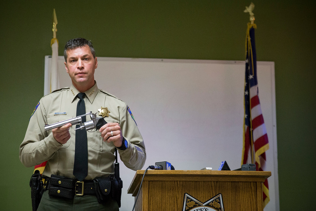 Sheriff William Honsal holds the .44-caliber handgun found at the scene of the shooting. A press conference this morning detailed the shooting that inolved three sheriff's office deputies. (Sam Armanino - The Times-Standard)