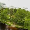 See-Camping Weichselbrunn aus Baumwipfelhöhe<br /> mit einem Regentropfen oben links auf dem Objektiv. Kommt vom Fliegen im Nieselregen.