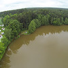 Uferweg durch Hochwasser etwas überschwemmt, aber am Platz keinerlei Problem