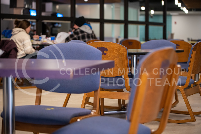 Chairs and furniture from the old dining center are being put to use in several seating areas in the updated Derby Dining Center. (Sydnee Shive I Collegian Media Group).