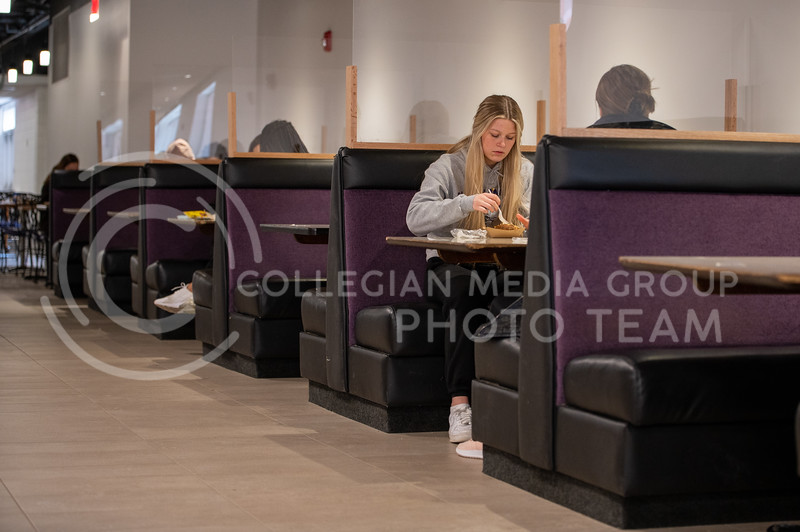 Booths are one of the many additions to the Derby Dining Center. (Sydnee Shive I Collegian Media Group).