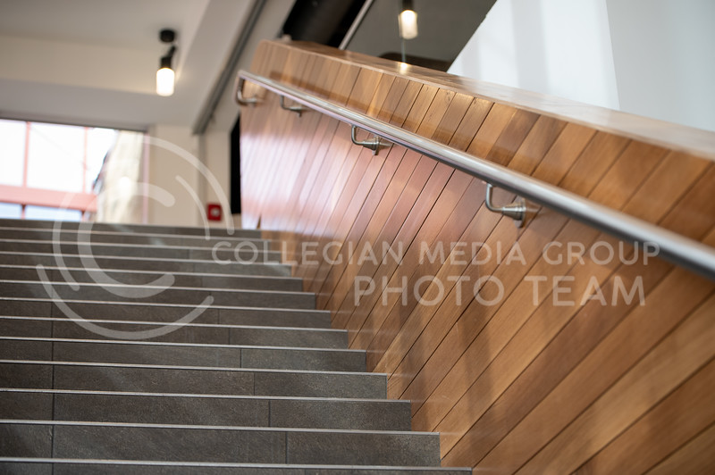 A stairway leads up to the grand entrance of the Derby Dining Center. (Sydnee Shive I Collegian Media Group).