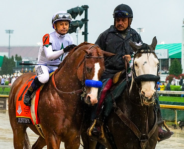 Justify with Jockey Mike Smith in the walk to the starting gate. Justify Wins The 144th Running Of The Kentucky Derby