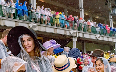 The Crowd weathers the rain. Justify Wins The 144th Running Of The Kentucky Derby