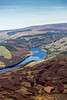 Aerial photo of Derwent Reservoir in Derbyshire.