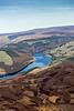 Aerial photo of Derwent Reservoir in Derbyshire.