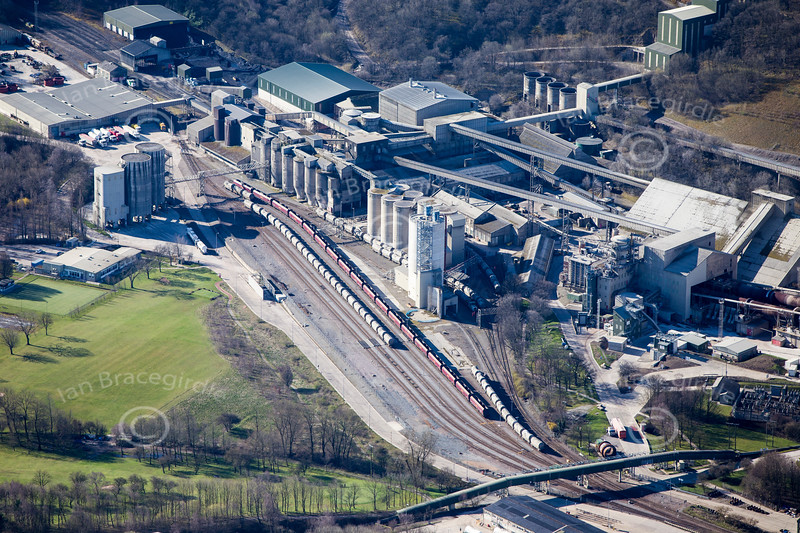 Hope cement works in Derbyshire from the air.