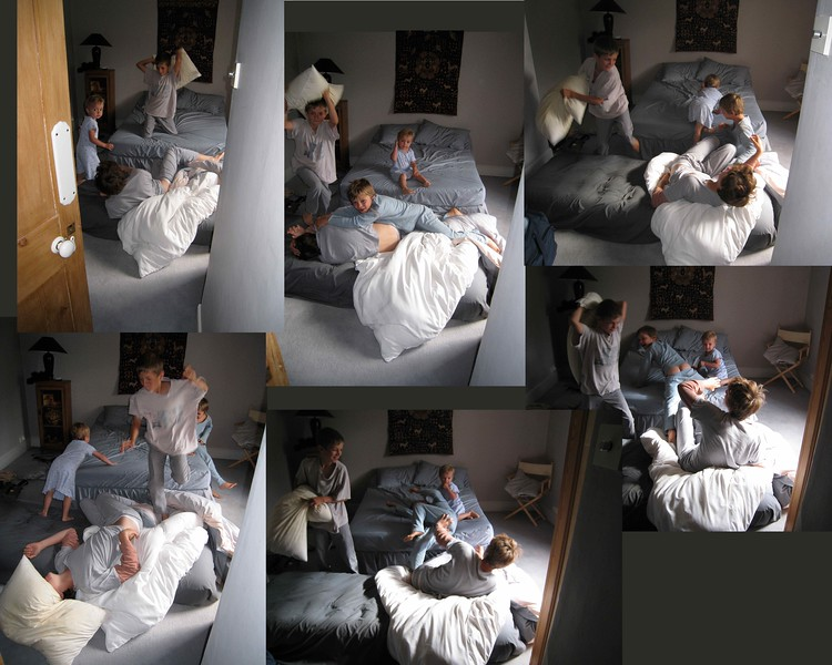 A natural study in grey. My French nephews children having a pillow fight. Natural light.