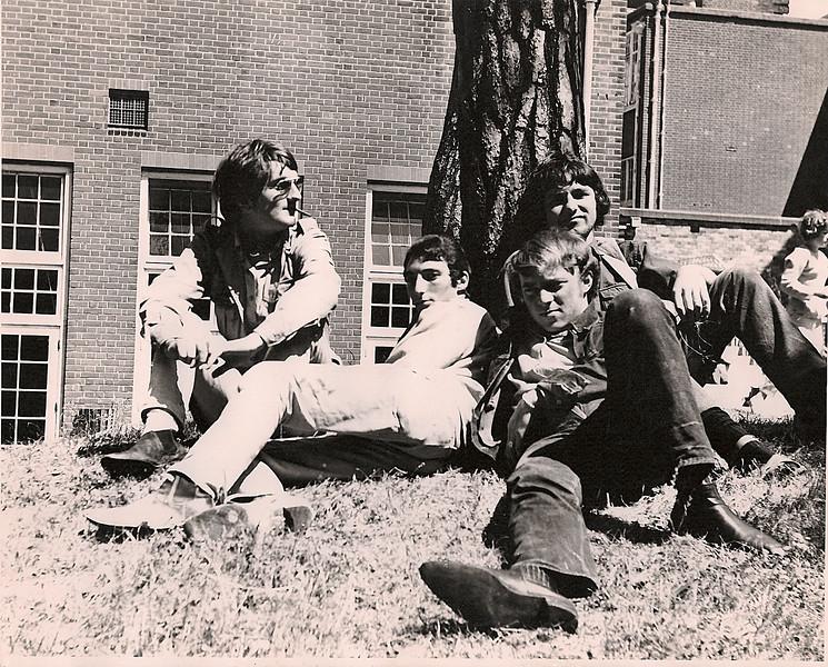 Derek Seagrim  1963 (smoking a cheroot ) & friends at Bournemouth art collage summer 1963.