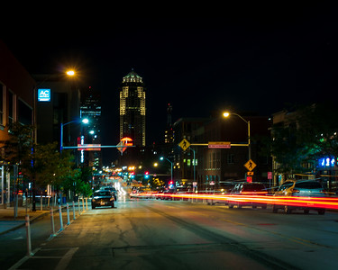 Long Exposure Tail Lights Downtown Des Moines
