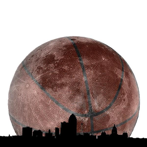 Basketball Moon over Des Moines