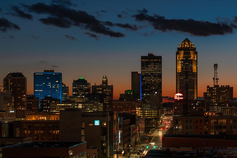 Downtown Des Moines Sunset