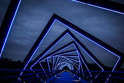 High Trestle Bridge Winter Sky Horizontal
