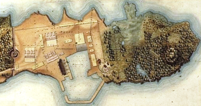 1818 map of the fortified dockyard, after the improvements by James Arnold